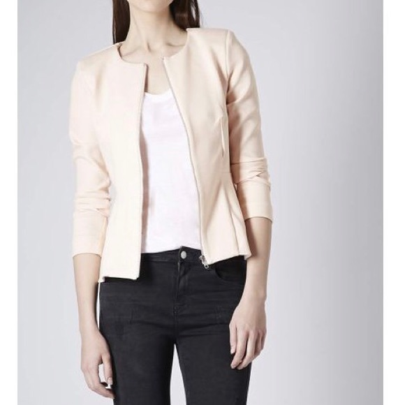 cost charm hot new products super specials TOPSHOP nude blush pink zipper front peplum jacket